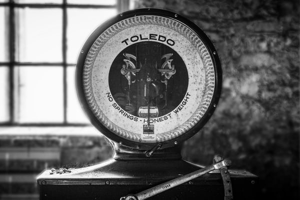 old style scales in black and white